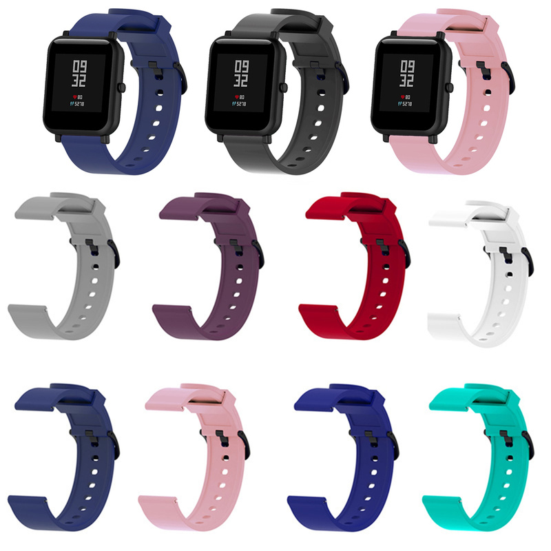 Soft Silicone Sport Watch Strap for Xiaomi Huami Amazfit Bip Bracelets Smart Watch 20MM Replacement Band Smartwatch Accessories