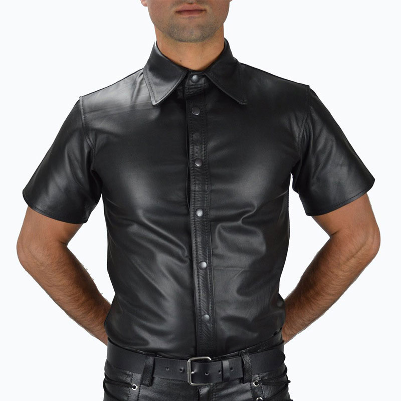 <font><b>Men</b></font> PU Faux Leather T-<font><b>shirt</b></font> Man Fashion Uniform T-<font><b>Shirts</b></font> DS Night Clubwear Punk <font><b>Sexy</b></font> Wear Corset Stage <font><b>Gay</b></font> Wear Tops Plus Size image