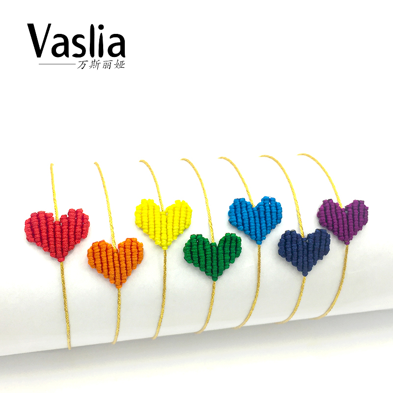 VISALIA heart shaped love lucky rainbow braided bracelet simple trendy ladies thread handmade jewelry best gift summer charm new