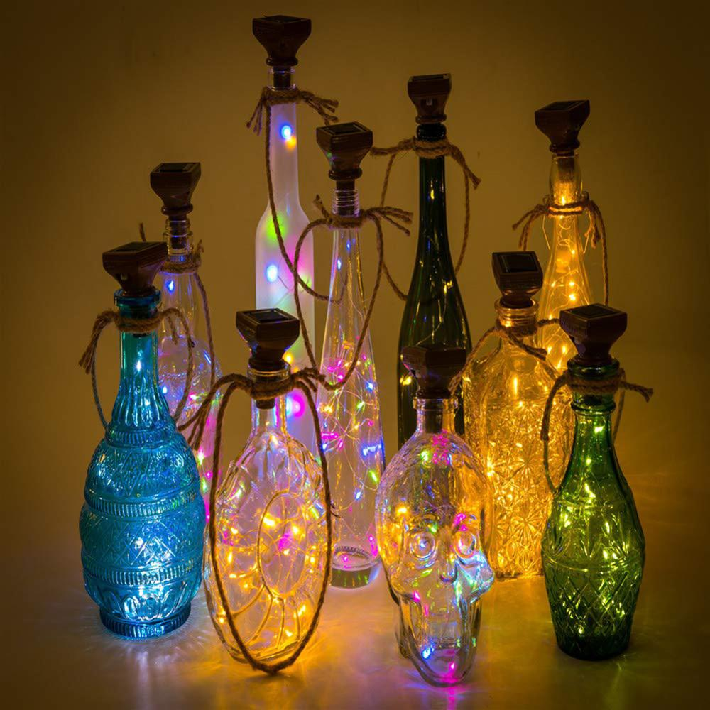 10/20 LED Solar Wine Bottle Lights Solar Energy Cork Shaped LED Light Starry Light