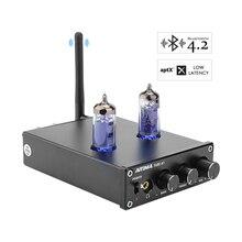 Aiyima 50 w * 2 tpa3116d2 bluetooth 4.2 tubo de vácuo 6j4 amplificadores digitais potência estéreo amplificador de som com tom baixo agudos