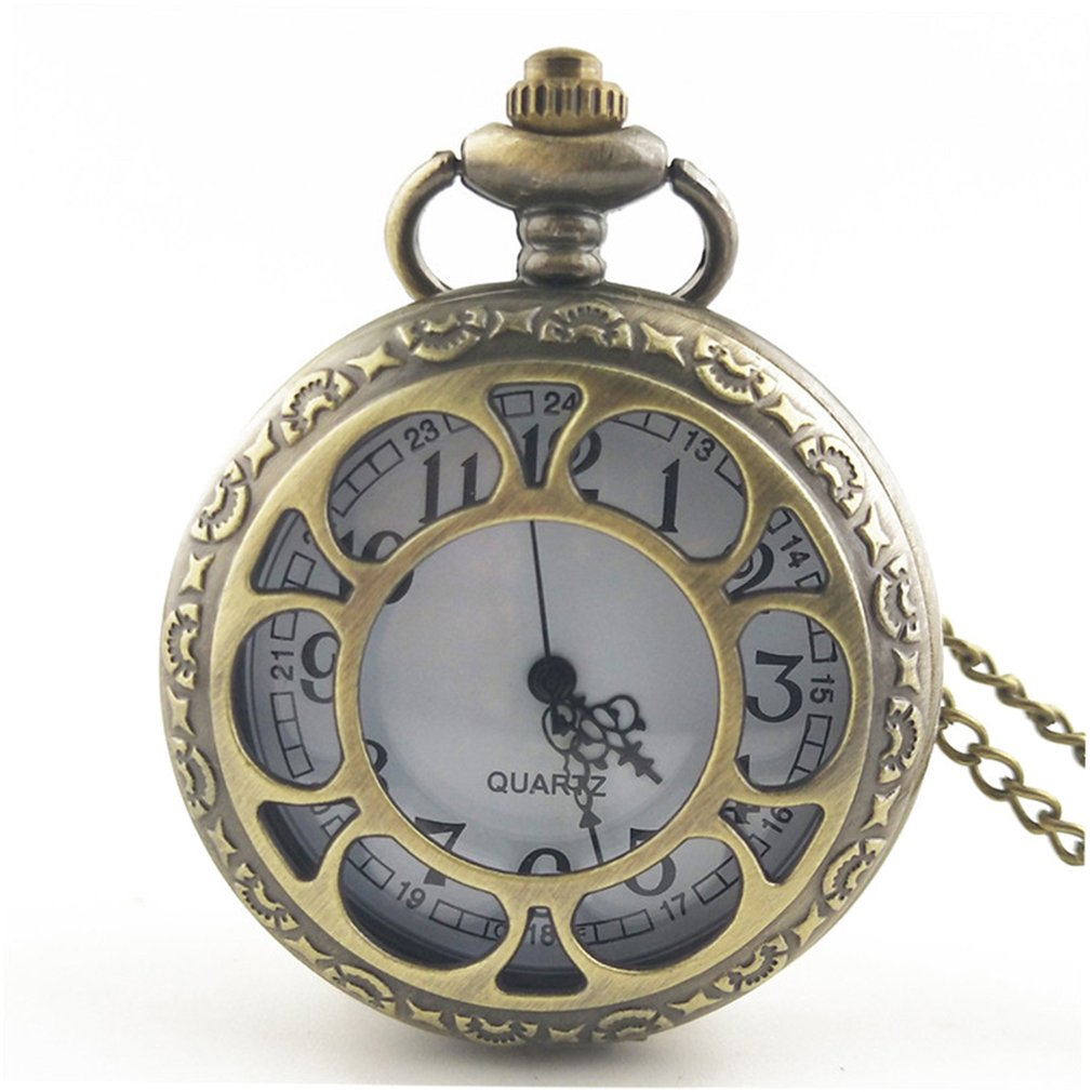Vintage Hollow Out Flower Fashion Men Women Quartz Pocket Watch Unisex Necklace Pendant Watches With Chain Best Gifts