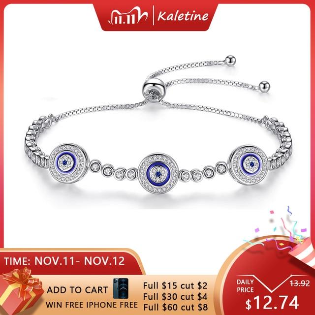 Women Evil Eye Lucky Hamsa Bracelet Genuine 925 Sterling Silver Men Luxury Round Blue Eyes CZ Crystal Tennis Bracelet KLTB014