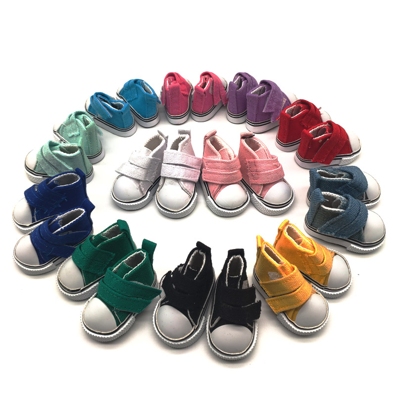 50Pairs/lot Wholesale Doll Accessories Canvas Shoes 1/6 BJD Doll Shoes 5CM-in Dolls Accessories from Toys & Hobbies    1