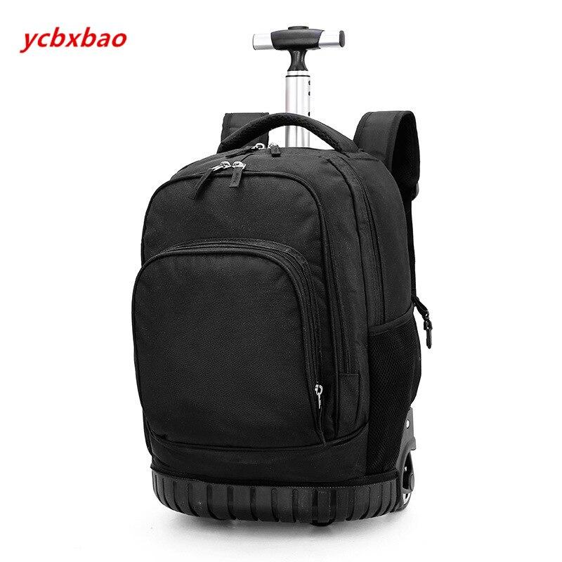 18 pouces sac à dos roulant voyage école sacs à dos sur roue chariot cartable pour adolescents garçons enfants sac d'école avec roues - 5