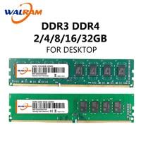 WALRAM ddr2 2 gb ram dimm intel memoria ram ddr3 8gb 1600mhz 16 gb ddr3 2666 mhz ddr4 3200mhz 32GB 4GB 2133 gb 2400 memoria de escritorio