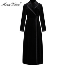 MoaaYina ファッションウインドブレーカーオーバーコート秋冬女性長袖ターンダウン襟ベルベットウインドブレーカーオーバーコート