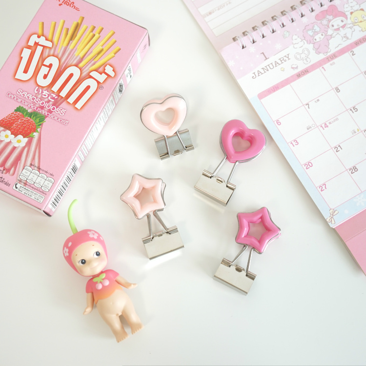 2 Pc Cute Pink Love Starlike Metal Nagao Clip Kawaii File Bill Test Paper Small Clips Student Stationery Office Binding Supplies