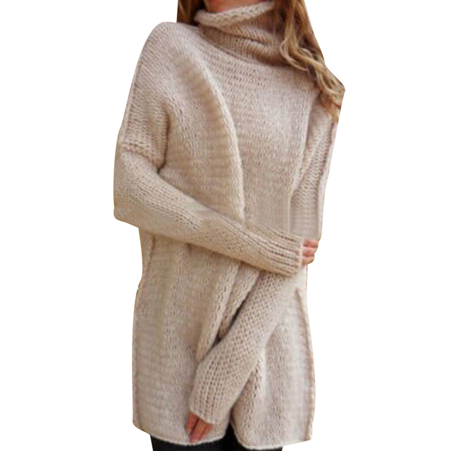 Turtleneck Women Knit Sweater Winter Long Sleeve Women Knitted Tops Lady Solid Pullover Long Sweater Female Oversize Sueter D40 4