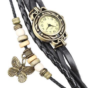 Newly  Women Retro Bracelet Wrist Watch Weave Wrap Faux Leather Butterfly Beads Pendant Chain  FIF66