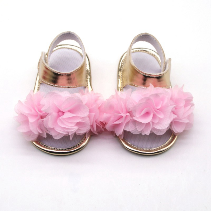 Flowers Girls Sandals Newborn Baby Girls Shoes Summer Big Flowers Toddler Sandals Princess Shoes Cloth Cotton