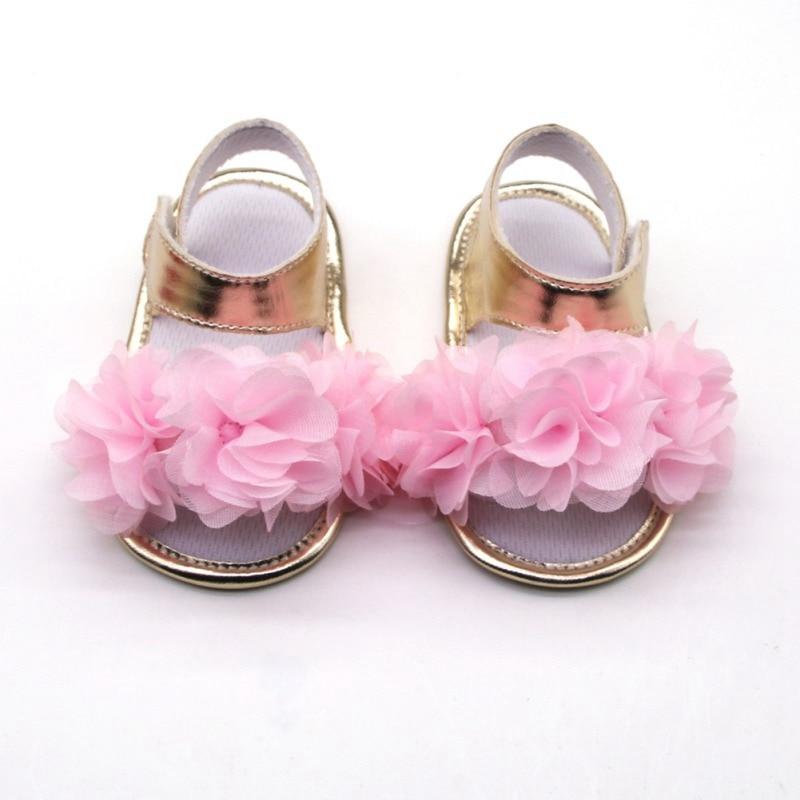 Flowers Girls Sandals Newborn Baby Girls Shoes Summer Big Flowers Toddler Sandals Princess Shoes Cloth Cotton