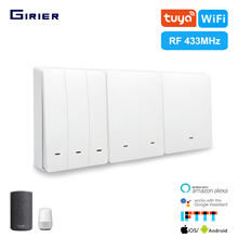 GIRIER Smart Wifi Light Switch Tuya App/433MHz RF/Voice/Timing Wireless Remote Wall Switch Smart Home Support Google Home Alexa
