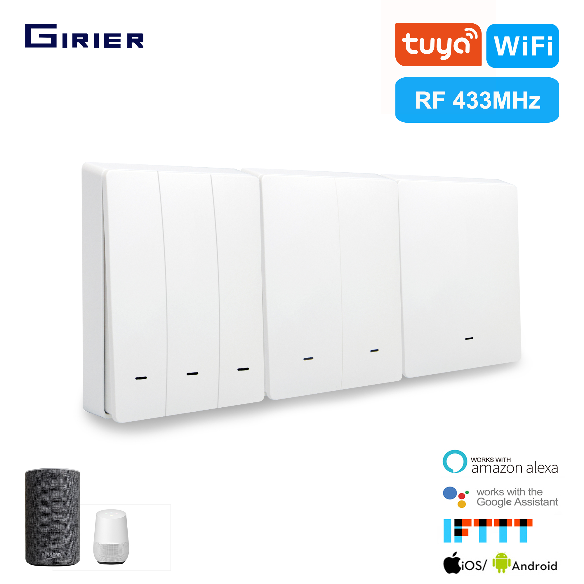 Girier Smart Wifi Button Switch Tuya App/433MHz RF/Voice/Timing Wireless Remote Wall Switch Smart Home Support Google Home Alexa