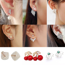 Leaf Crystals Stud Earrings for Women Fashion Jewelry Double Sided Shell Simulated Pearl Gift For Party Best Friend
