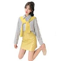 Осенний Женский комплект из двух предметов, винтажный Модный Топ + юбка, топ с отложным воротником, офисный костюм из искусственной кожи