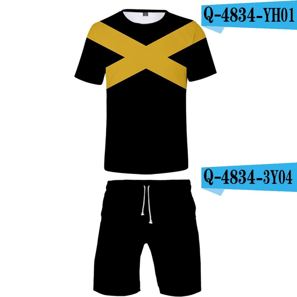 Hot Sales X-Men Black Phoenix Suit Europe And America Movie X Men's 3D Beach Shorts + Short Sleeve T-shirt MEN'S Suit