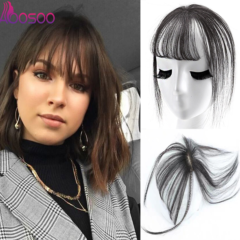 3D Bangs Invisible Seamless BANGS Female Short Fake Hair Bangs GIRLS Women BB Clip Hair Pieces Synthetic Bangs For  White