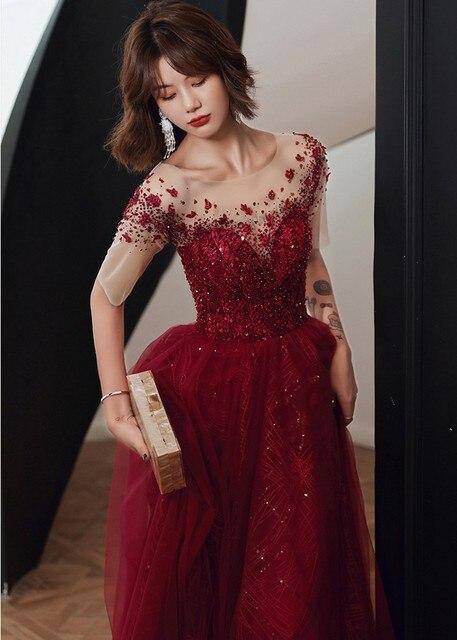 роскошные дубай блёстки вечернее платье 2020 иллюзия шеи с коротким фотография
