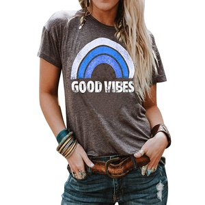 Image 5 - Womens Round Neck Rainbow Letter GOOD VIBES Printing Casual Vest Aesthetic Clothing Female Harajuku Graphic Popular Tank Tops