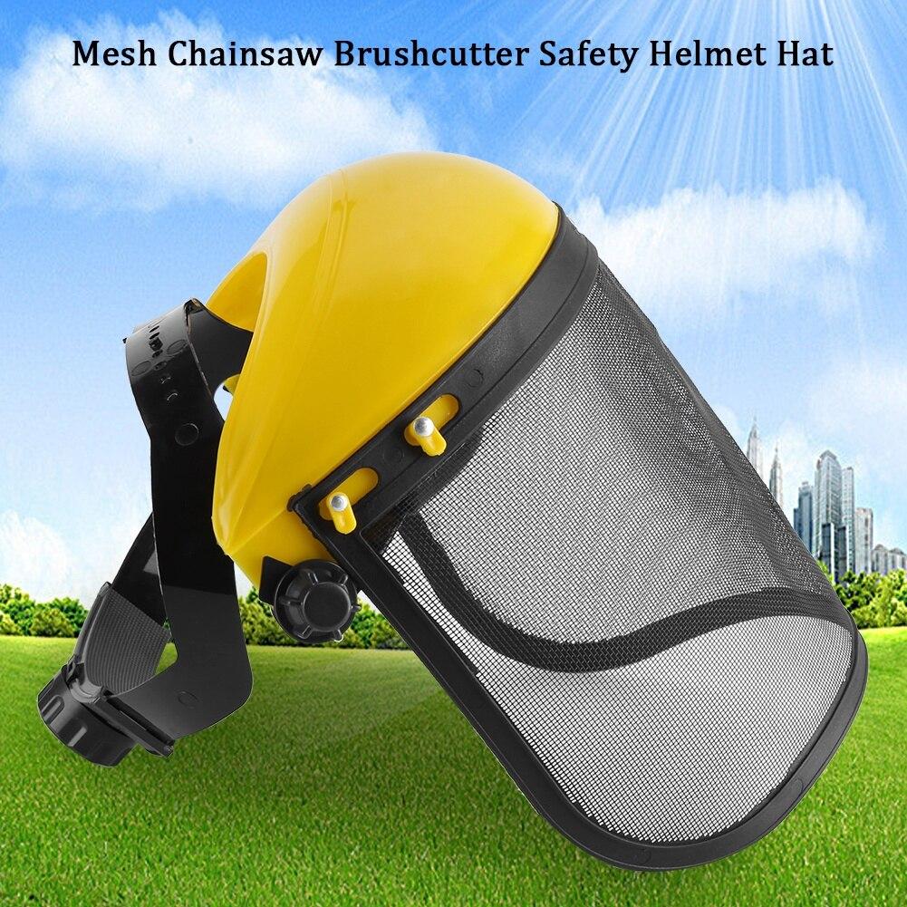 1PC Garden Grass Trimmer Safety Helmet Hat With Full Face Mesh Visor For Logging Brush Cutter Forestry Protection