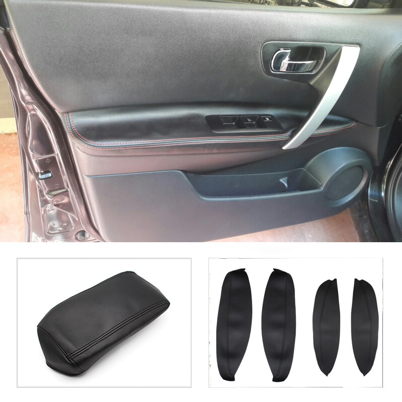 Color Name : Black Bracciolo auto Pelle bracciolo centrale copertura misura for il Nissan Qashqai 2008-2011 2012 2013 2014 2015 2016 2017 Centro di controllo bracciolo Box Cover Trim