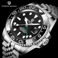 PAGANI DESIGN Men Stainless Steel Watch Sapphire Crystal Ceramic bezel GMT Automatic Mens Watches Luxury Mechanical Wristwatch