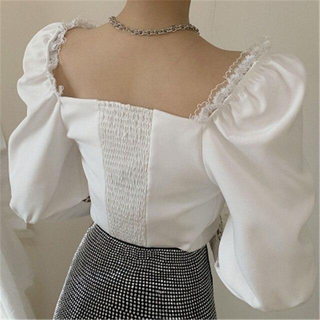 Фото женские белые черные блузки осенние новые французские сексуальные