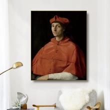 Canvas Oil Painting《Cardinal portrait 》Raffaello Santi Poster Picture Wall Decor Modern Home Decoration For Living room Office