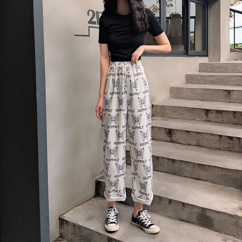 Women Pants Elastic Waist Full Length Straight Trousers Butterfly Printed Pants Streetwear Casual Loose Pants