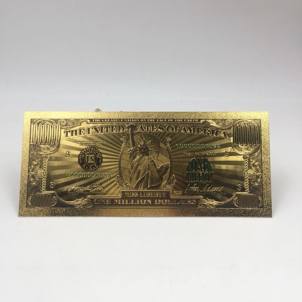 1pc transporte da gota de alta qualidade $1 milhão dólar notas de nota decoração antigo banhado a ouro eua lembrança decoração de casa