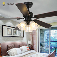 Trazo Vintage Ceiling Fan With Lights Pull rope switch Ventilador De Techo 220 Volt Bedroom Ceiling Light Fan Lamp E27 Bulbs