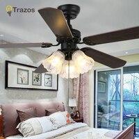 Trazo Vintage Ceiling Fan With Lights Pull rope switch Ventilador De Techo 220 Volt Bedroom Ceiling Light Fan Lamp E27 Bulbs