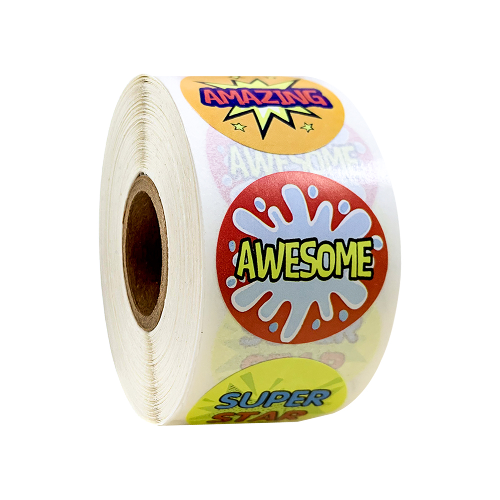 Lovely Reward Sticker 500pcs/roll 1 inch English Words Encourage Sticker Sealing Labels for Classic Toy Gift Decor Kids Sticker