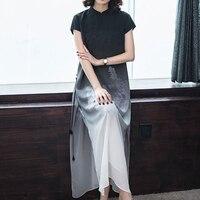 Droppshiping Fashion Summer Dress Plus Size Women Dress Silk Print Short Sleeves Long Cheongsam Chinese Style Party Dress J55