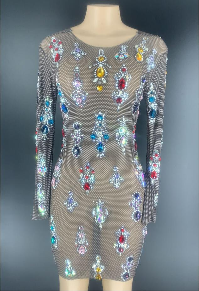 Multi-color Rhinestones Black Transparent Dress Bar Long Sleeves Women Dance Dress Birthday Outfit Dress YOUDU