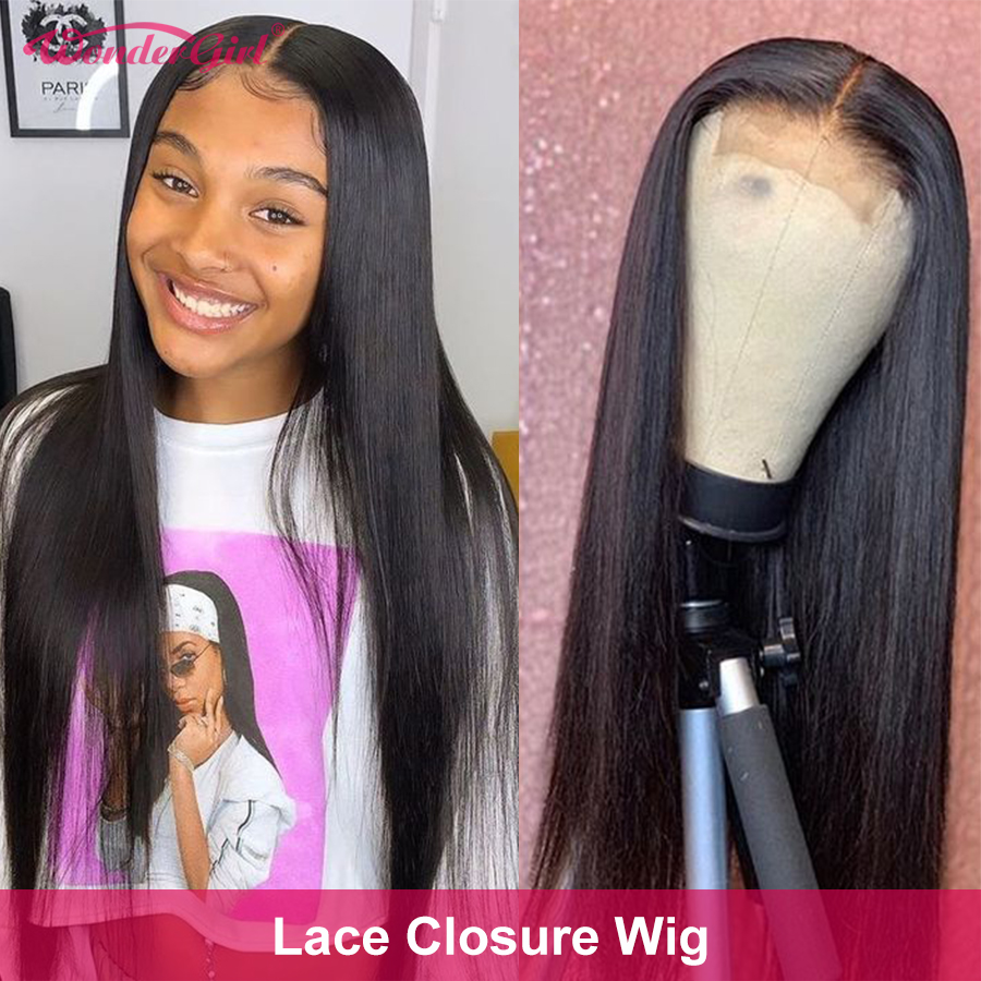 Closure Wig Brazilian Straight Lace Front Wig 4X4/5x5 Lace Closure Wig Remy Lace Front Human Hair wigs Pre Plucked Wonder girl