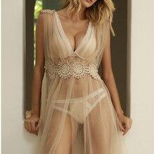 Сексуальный мусс для женщин одежда для сна сетчатый халат Прозрачная сетка тонкий мягкий вышивка длинное платье Черный Белый Свадебное использование Мода молодой