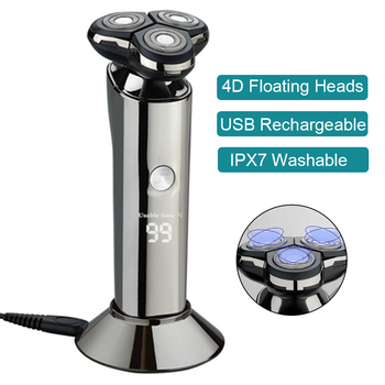 USB Rechargeable Electric Shaver For Men 4D Triple Floating Heads Blade Razor Shaver Beard Trimmer Face Shaving Machine philips s5082 61 rechargeable electric shaver 3d triple floating blade heads shaving razors face care beard shaving machine