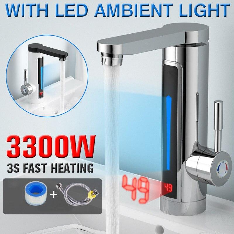 3300W électrique instantané chauffe-eau robinet robinet LED lumière ambiante température affichage salle de bain cuisine instantané chauffage robinet