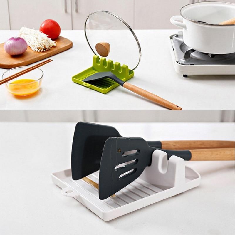 Portabottiglie da cucina forchetta spatola scaffale organizzatore cucchiaio di plastica resto bacchette porta cucchiai antiscivolo Pad utensile da cucina 2