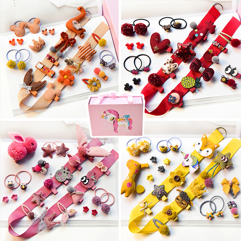 10/24Pcs/Gift Box Winter Children Baby Cute Candy Cartoon Flower Hair Clips Barrettes Girls Lovely Hairpins Kid Hair Accessories