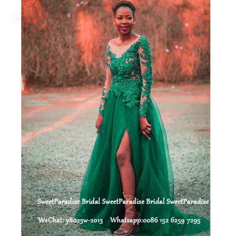 Green Long Sleeves Lace Mother Of The Bride Dresses With Appliques Beads Side Split A Line Formal Prom Dresses For Women
