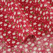 1 Piece White Flowers and Green Leaves Designs Home Textile Fabric Tecido Red Cotton Fabric Pre-cut Fat Quarter Dor Doll's DIY(China)