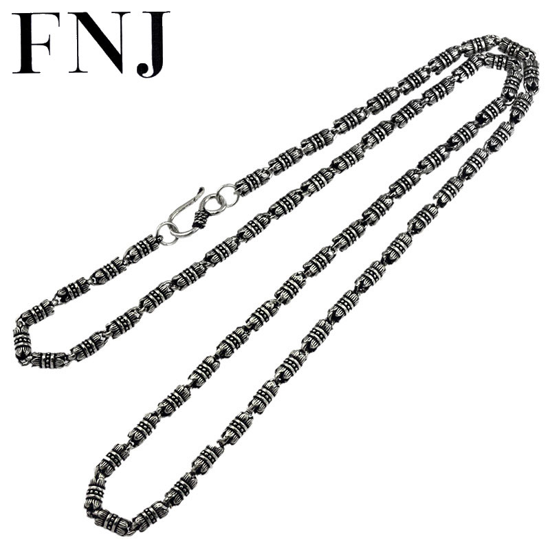 FNJ 4mm Lotus lien chaîne colliers 925 argent Long 45cm à 60cm fin Original S925 argent hommes collier pour la fabrication de bijoux