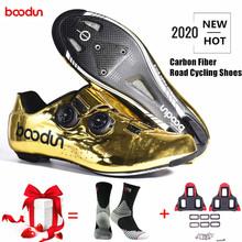 Boodun nowy Tyrant złoty kolarstwo szosowe buty szosowe samoblokujące buty z włókna węglowego Ultralight profesjonalne buty wyścigowe rowerowe tanie tanio CN (pochodzenie) Syntetyczny Oddychające Wysokość zwiększenie Oświetlony Wodoodporna Cotton Fabric Średnie (b m)