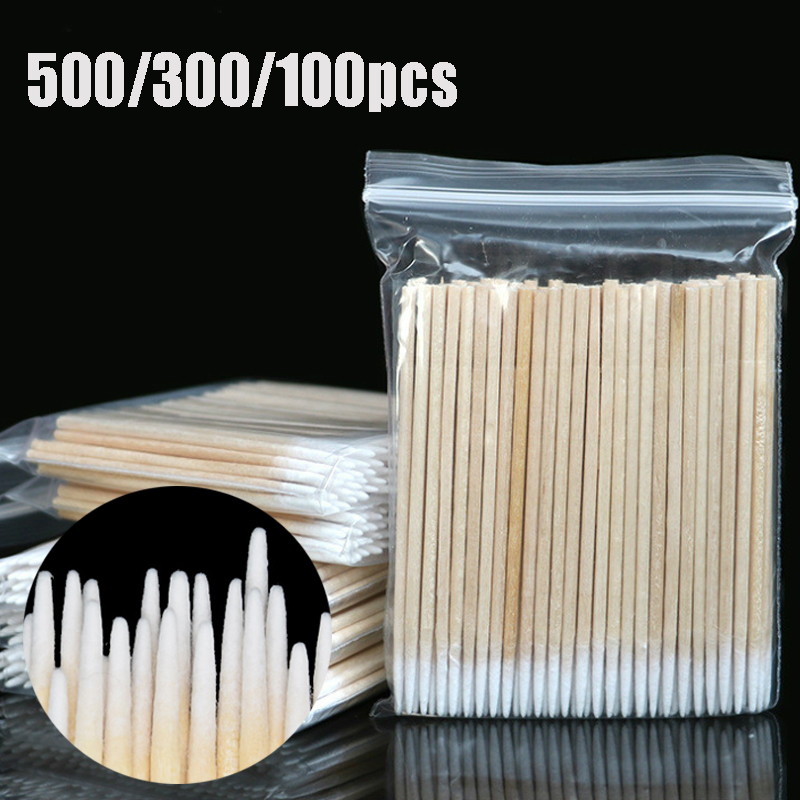 500pcs Disposable Ultra small Cotton Swab Lint Free Micro Brushes Wood Cotton Buds Swabs Eyelash Extension Glue Removing Tools