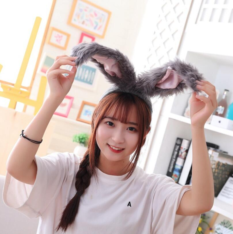 popular girls rabbit Headband Plush Rabbit ears hoops white bunny ears Headdress gifts for woman Photographic tools Selfie