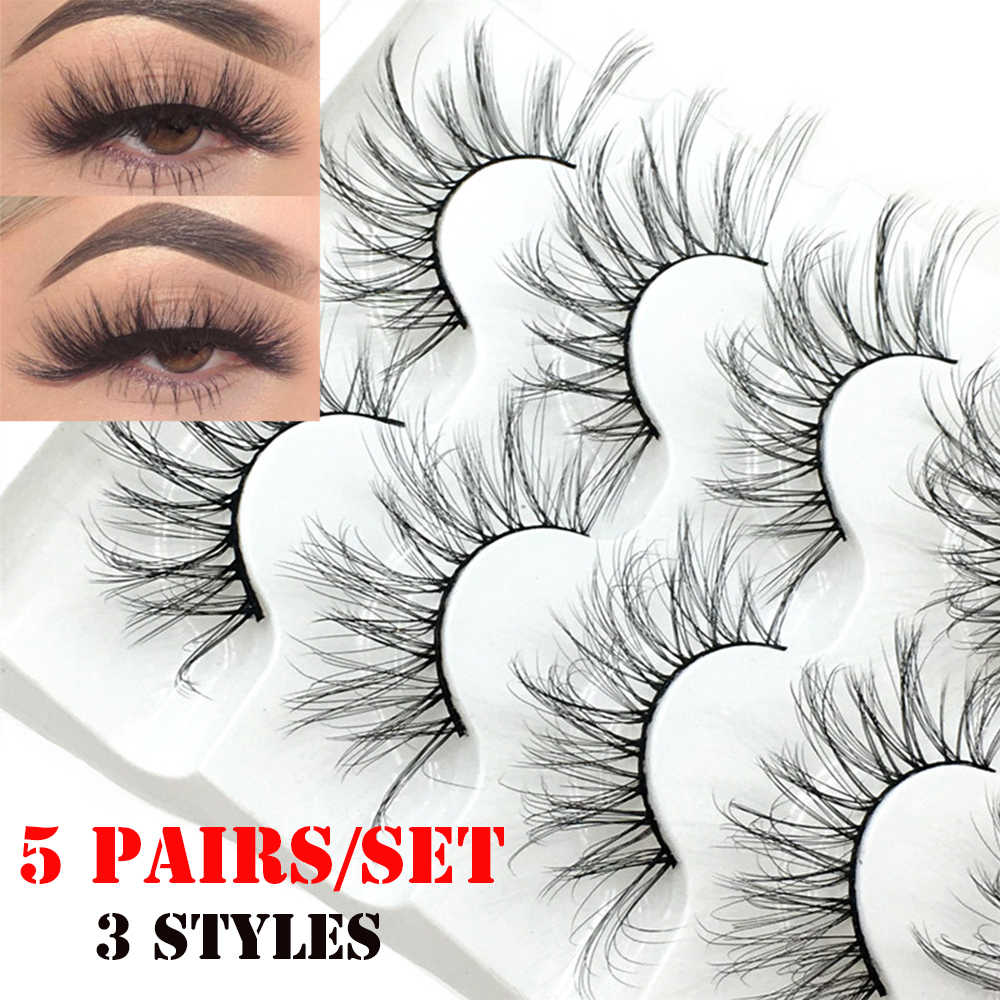 5 Pairs 3D/5D Faux Nerz Haar Falsche Wimpern Natürliche Lange Voller Lautstärke Wispies Flauschigen Wimpern Verlängerung Augen Make-Up werkzeuge Handgemachte