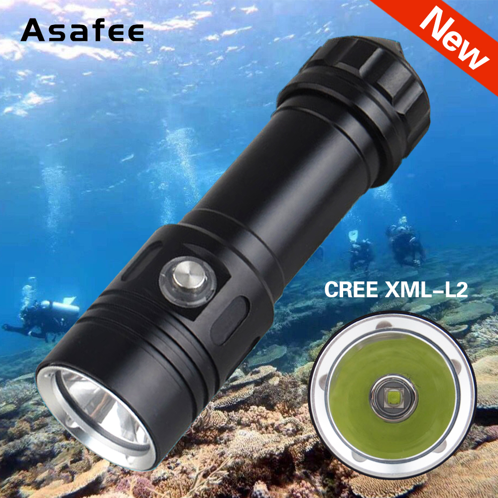 Asafee LED Flashlight Torch Underwater 50m Diving Flashlight Lamp Waterproof XM-L2 Dive Light 26650 Mini Portable Diving Torch